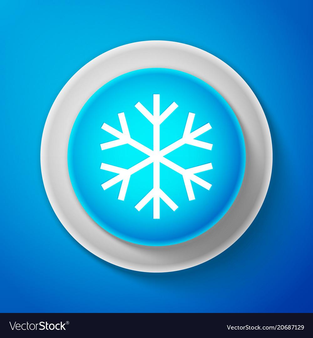 White snowflake icon isolated on blue background