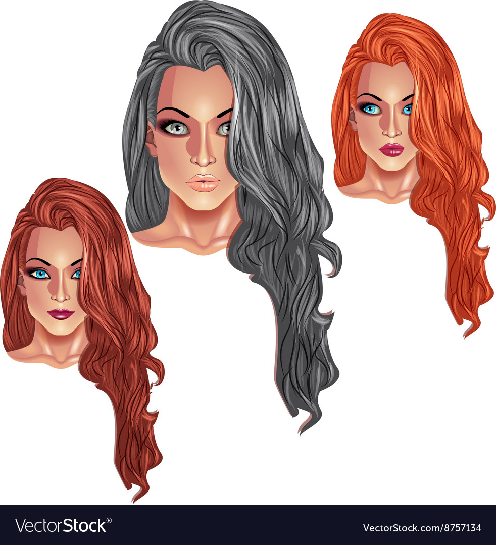 Beautiful girls with long haircuts