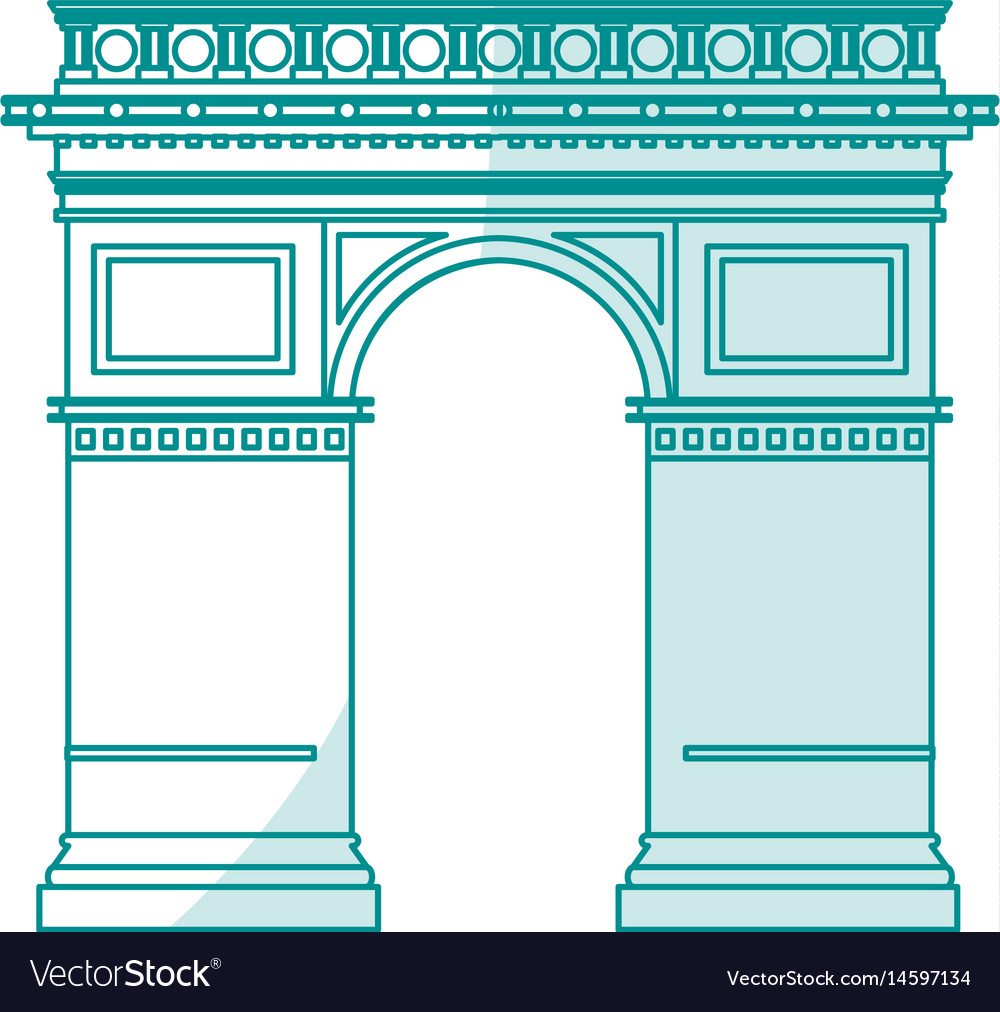 Blue silhouette shading monument arch antique