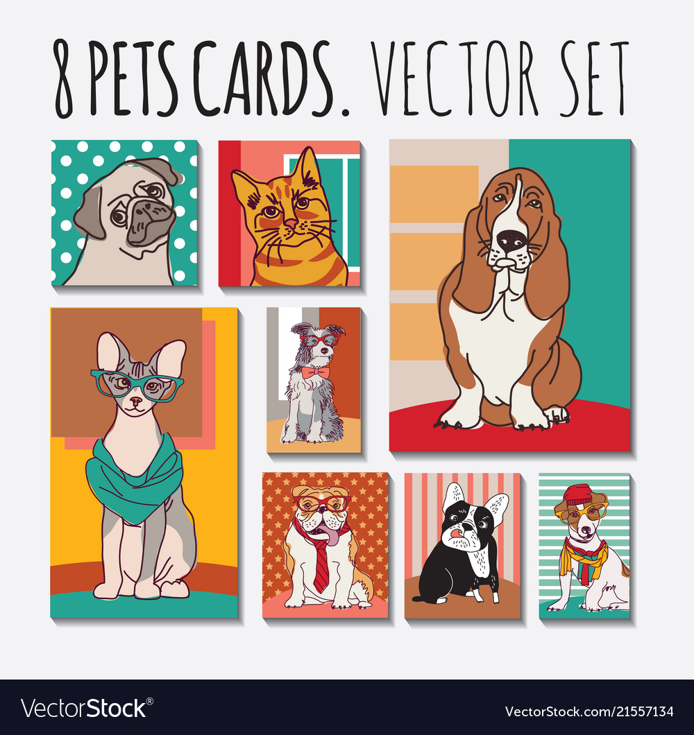 Cats and dogs cards animals pets set