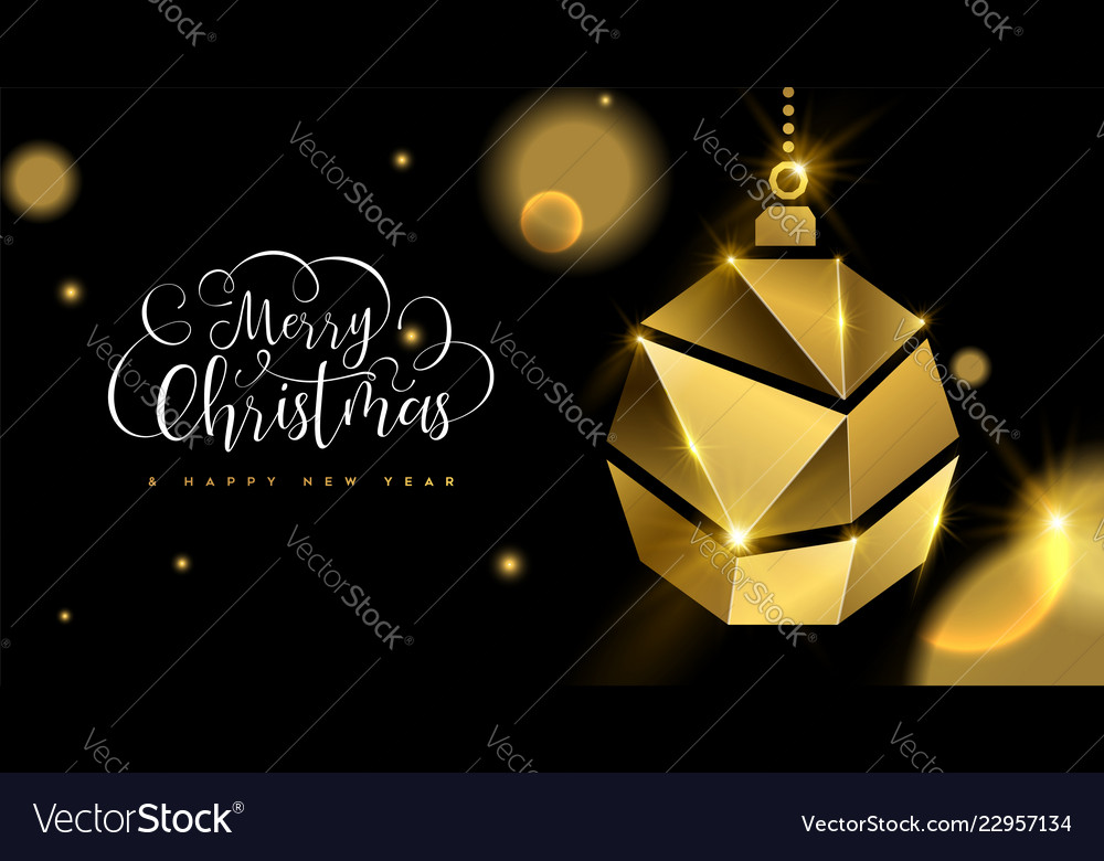 Christmas and new year 3d gold ornament ball card
