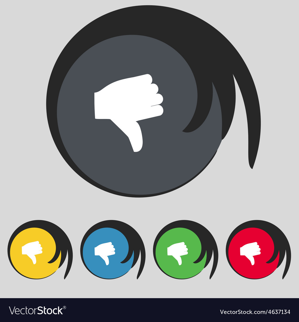 Dislike Thumb down icon sign Symbol on five