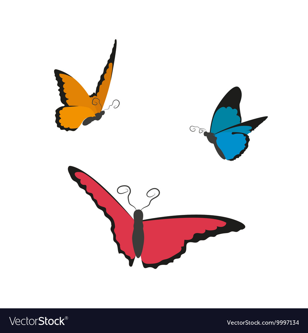 1b891d8cf Image of flying butterflies on a white background Vector Image