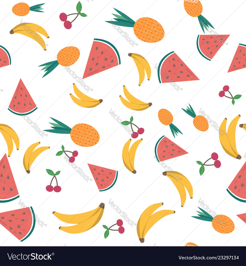 Summer seamless pattern with tropical fruits