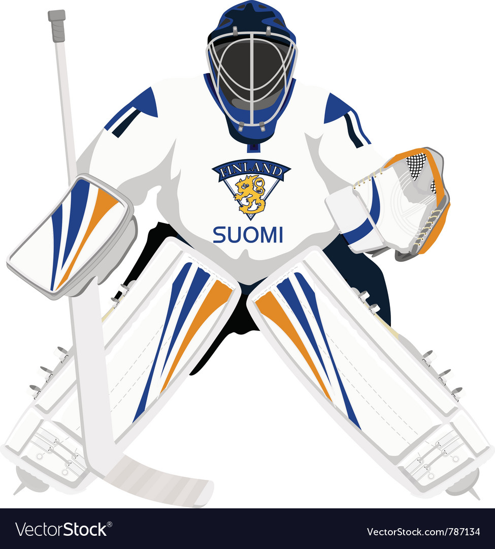 Team Finland Hockey Goalie Royalty Free Vector Image