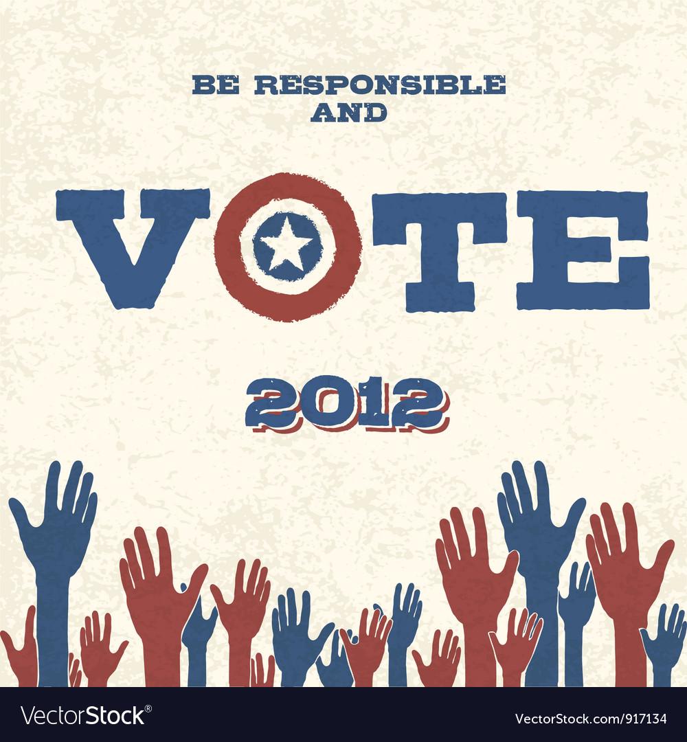 Vote retro poster vector image