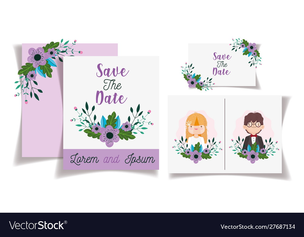 Wedding couple flowers save date invitation