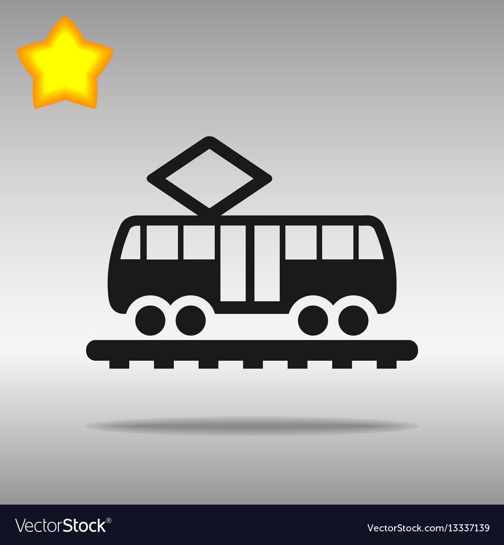 Black tram icon button logo symbol concept high