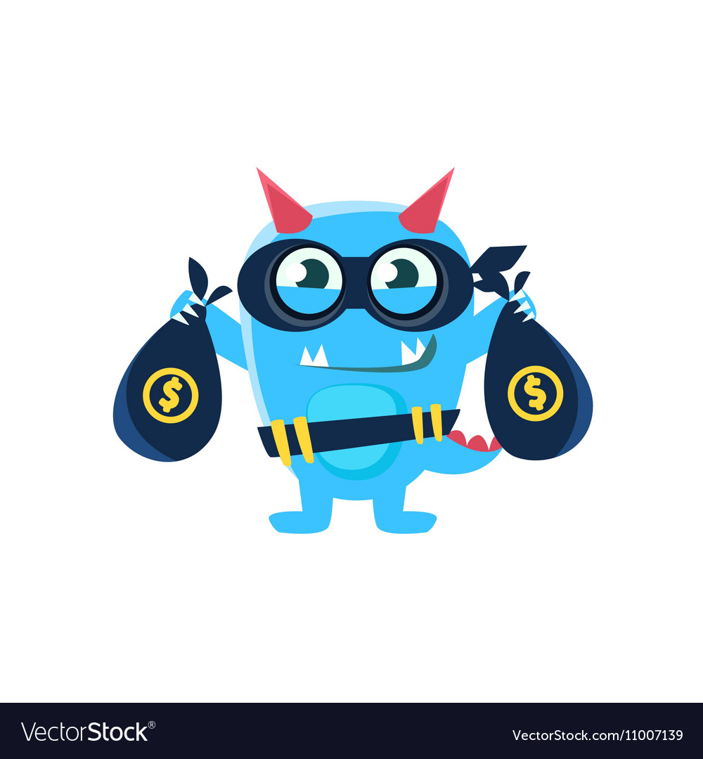 Blue Monster With Horns And Spiky Tail Robbing The