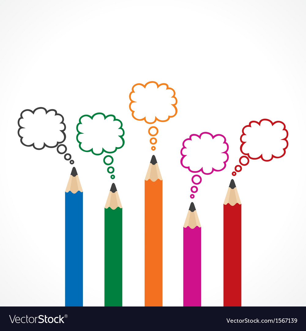 Colorful Message Bubbles with pencils vector image