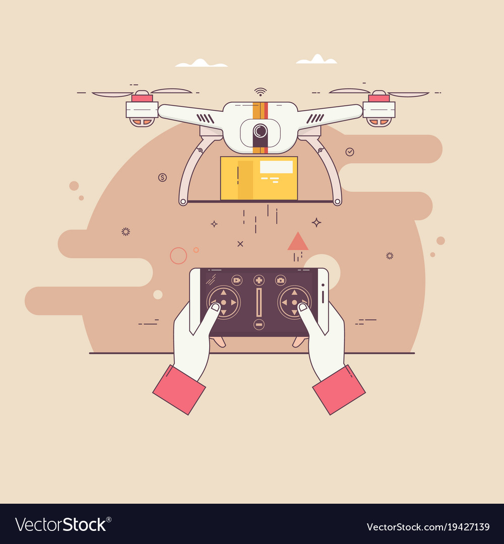 Dron delivers the parcelthe concept of fast free
