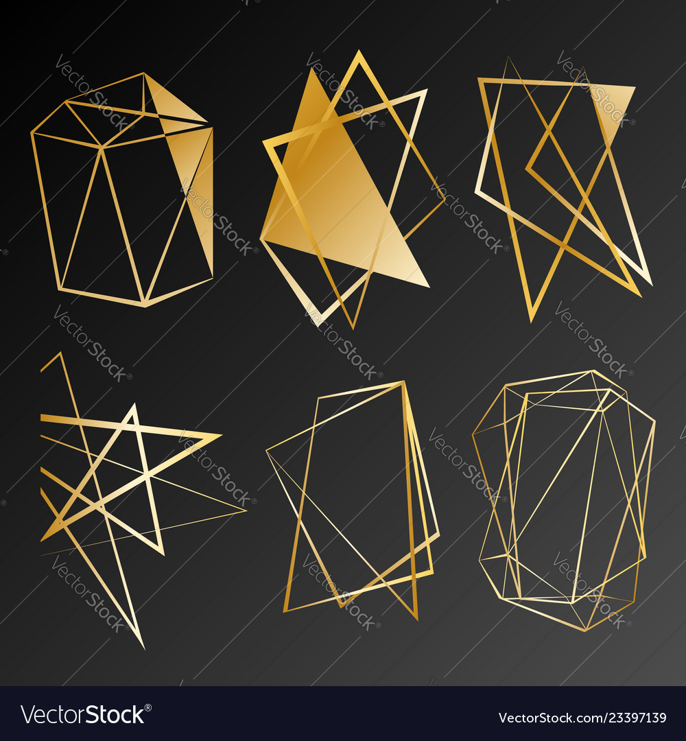 Gold gradient shapes for banner flyer poster