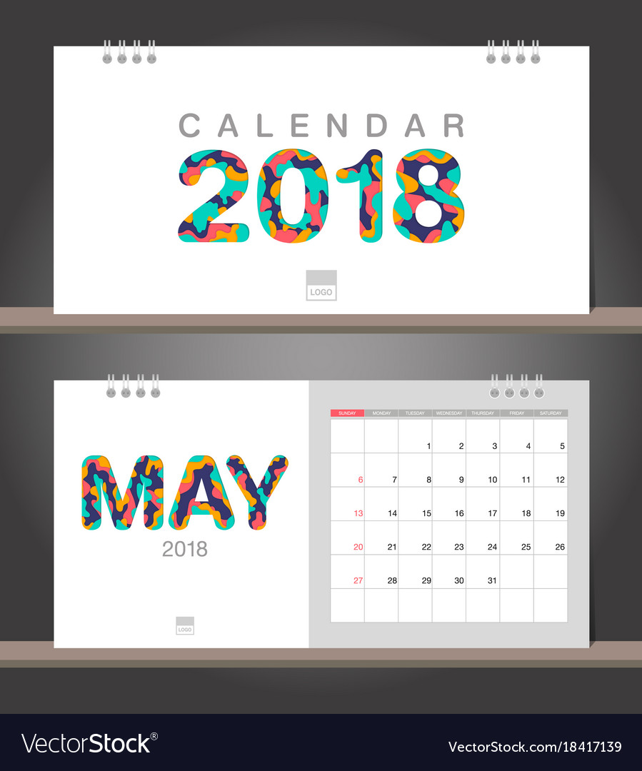 May 2018 calendar desk calendar modern design