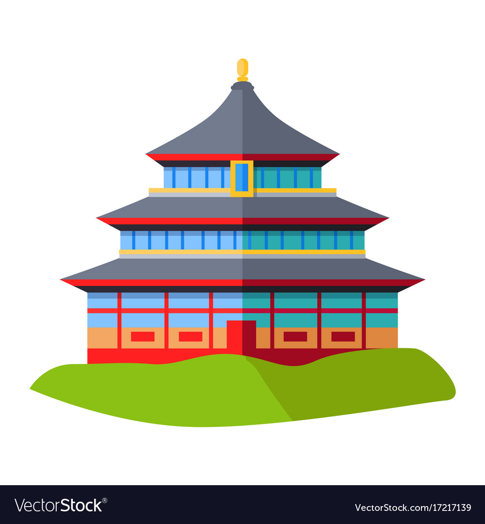 Oriental building isolated on green grass on white