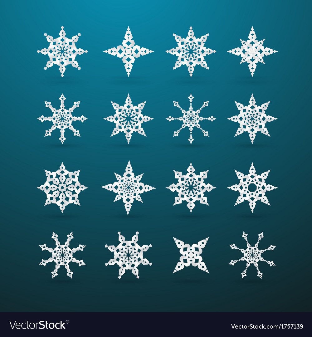 Paper Christmas Star Set on Blue Background