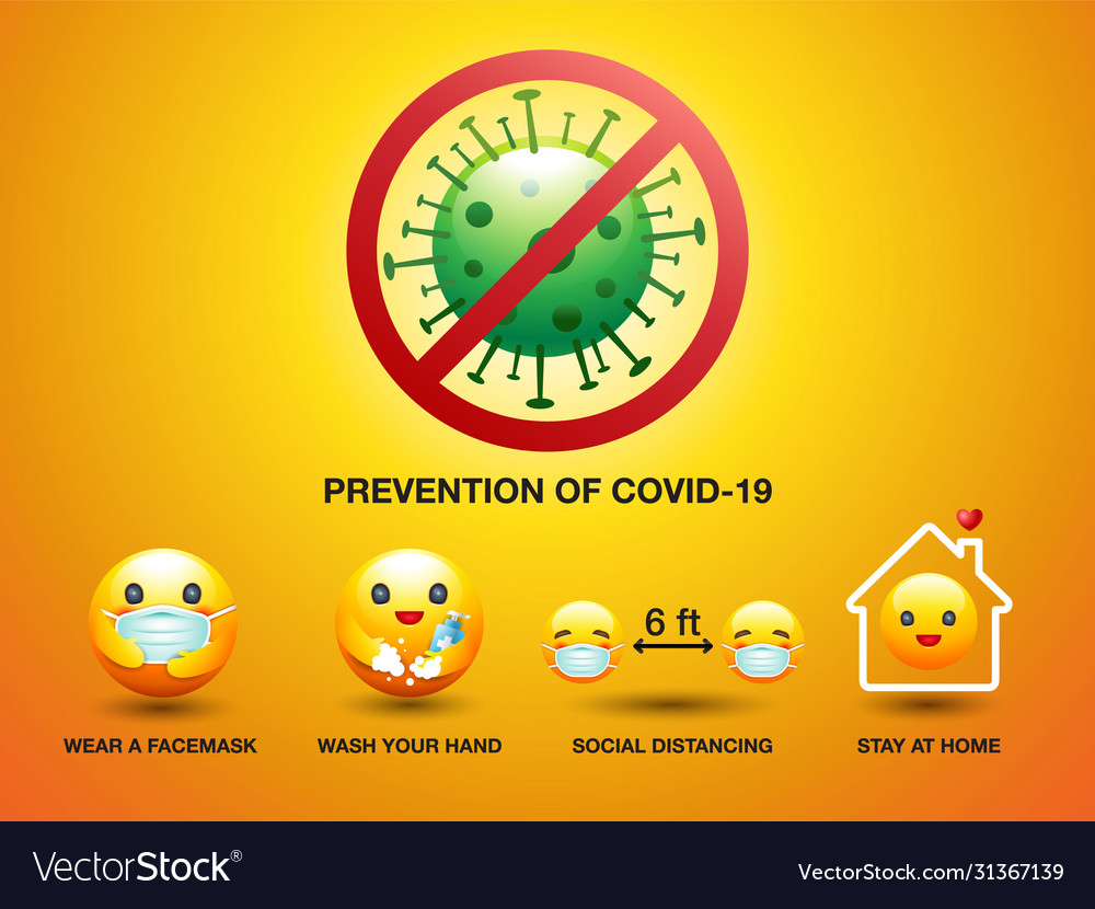 Set icon smiley prevention covid-19 sign