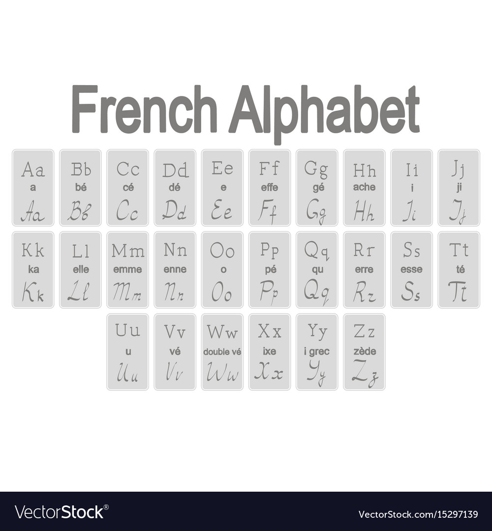 letters in the alphabet set of monochrome icons with alphabet vector image 23358 | set of monochrome icons with french alphabet vector 15297139