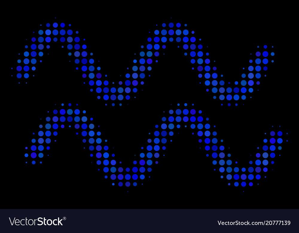 Sinusoid waves halftone icon