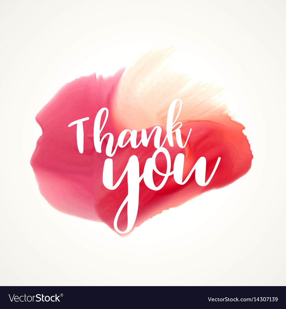 Thank you lettering on red paint or watercolor