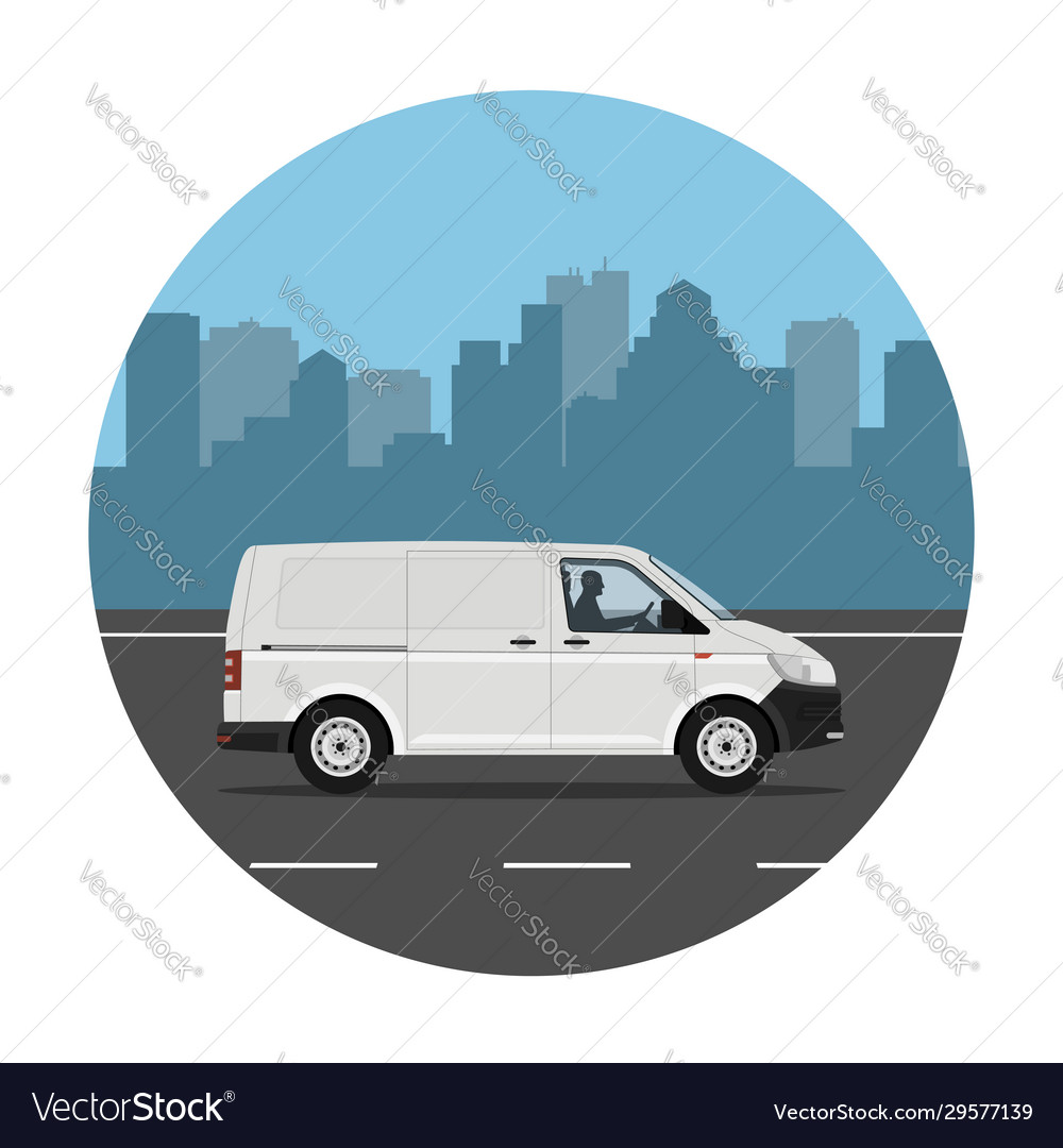 Van over city background