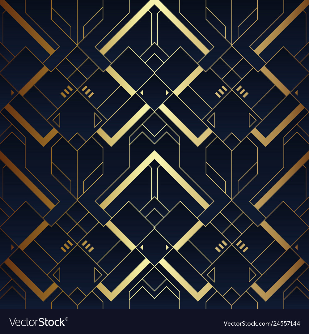 Abstract art luxury dark seamless blue and golden