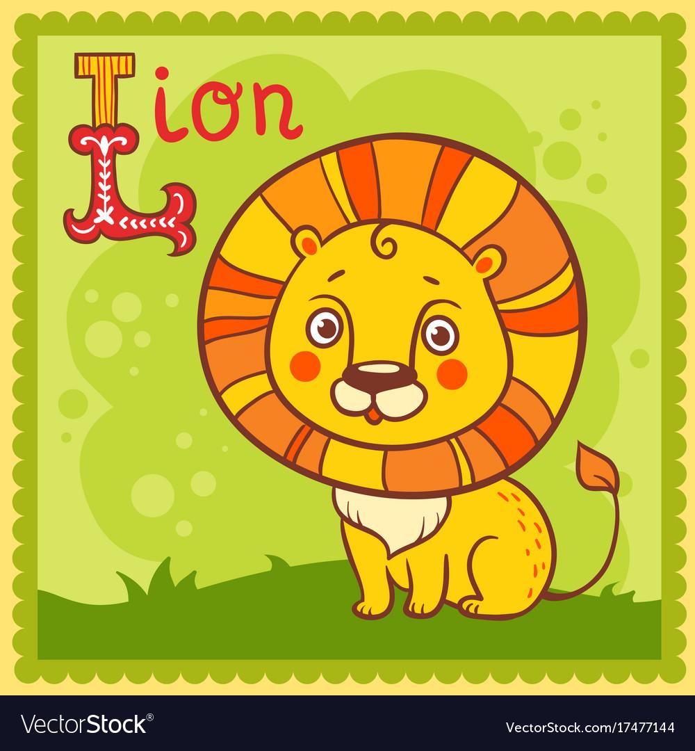 Alphabet letter l and lion