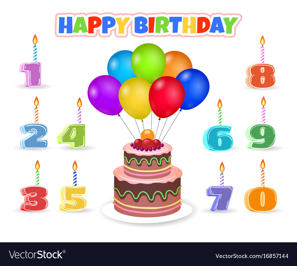 Cartoon Birthday Cake With Balloons Vector Image
