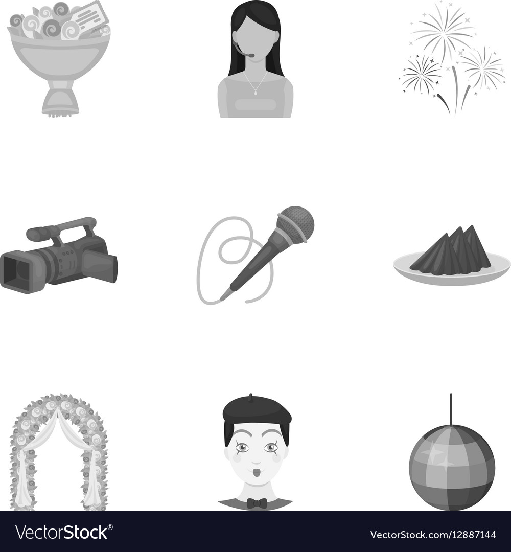 Event service set icons in monochrome style Big