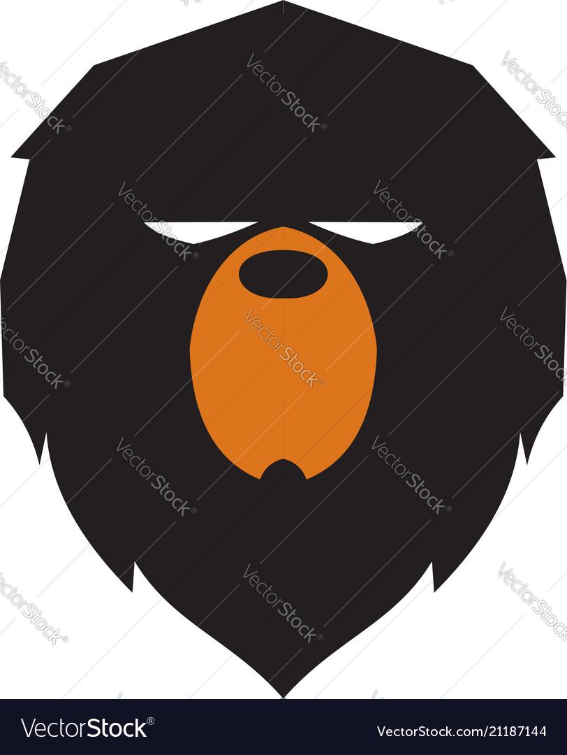 Lazy bear head logo design concept template