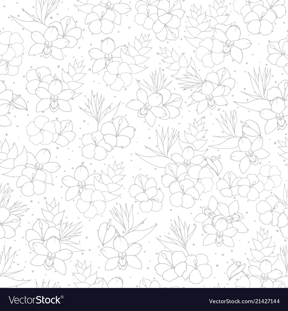 Tropical repeat pattern with orchid hibiscus and