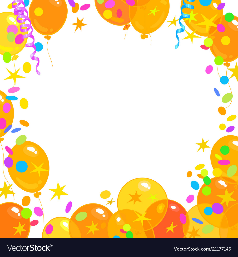 Balloons confetti serpentine frame with place