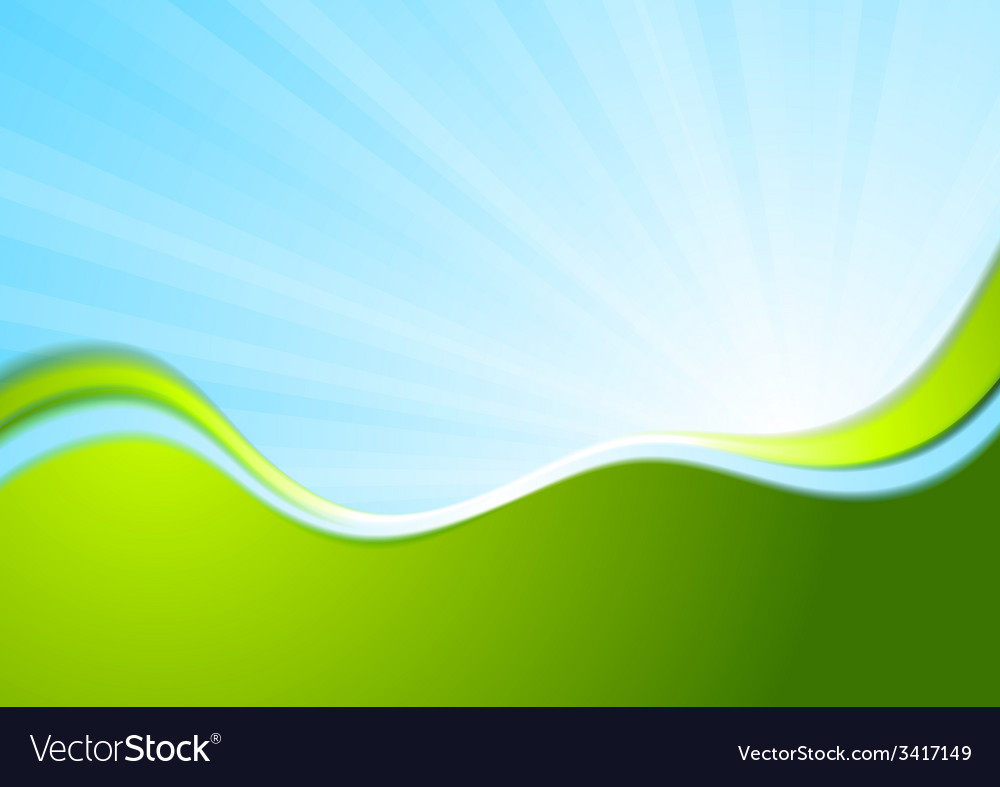 Blue And Green Wavy Abstract Background