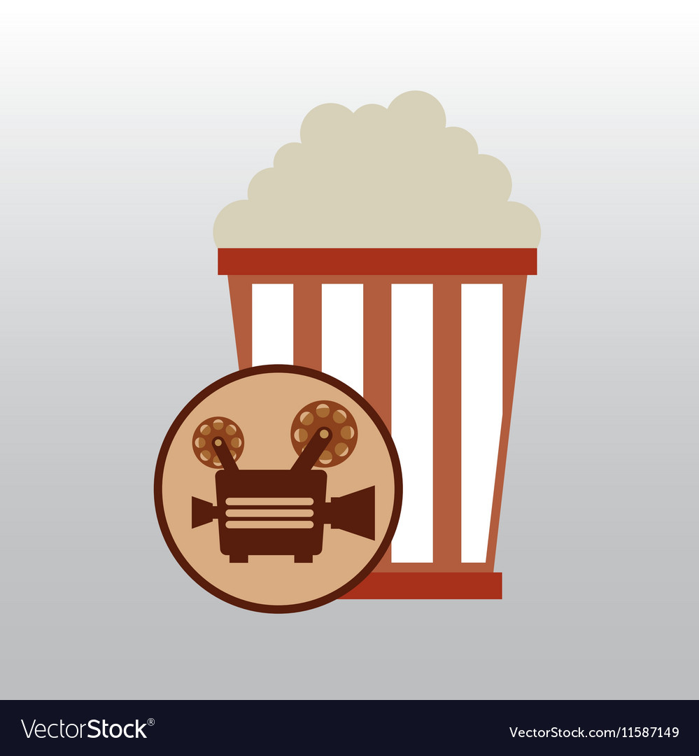 Camera movie vintage pop corn icon design vector image