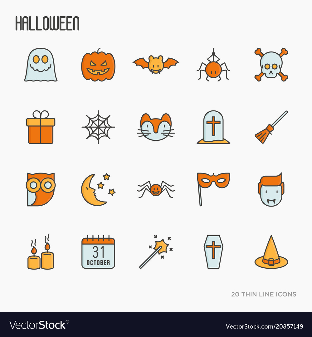 Cartoon halloween thin line icons set