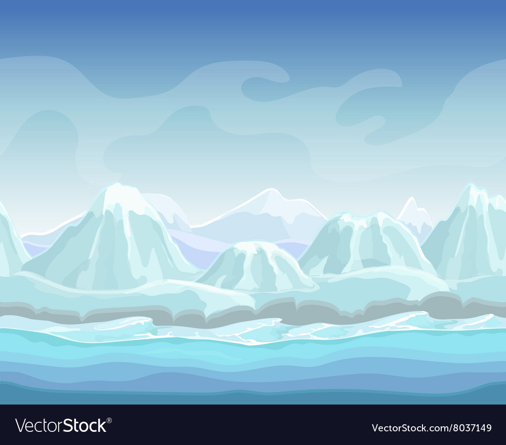 Cartoon winter landscape with snow mountains