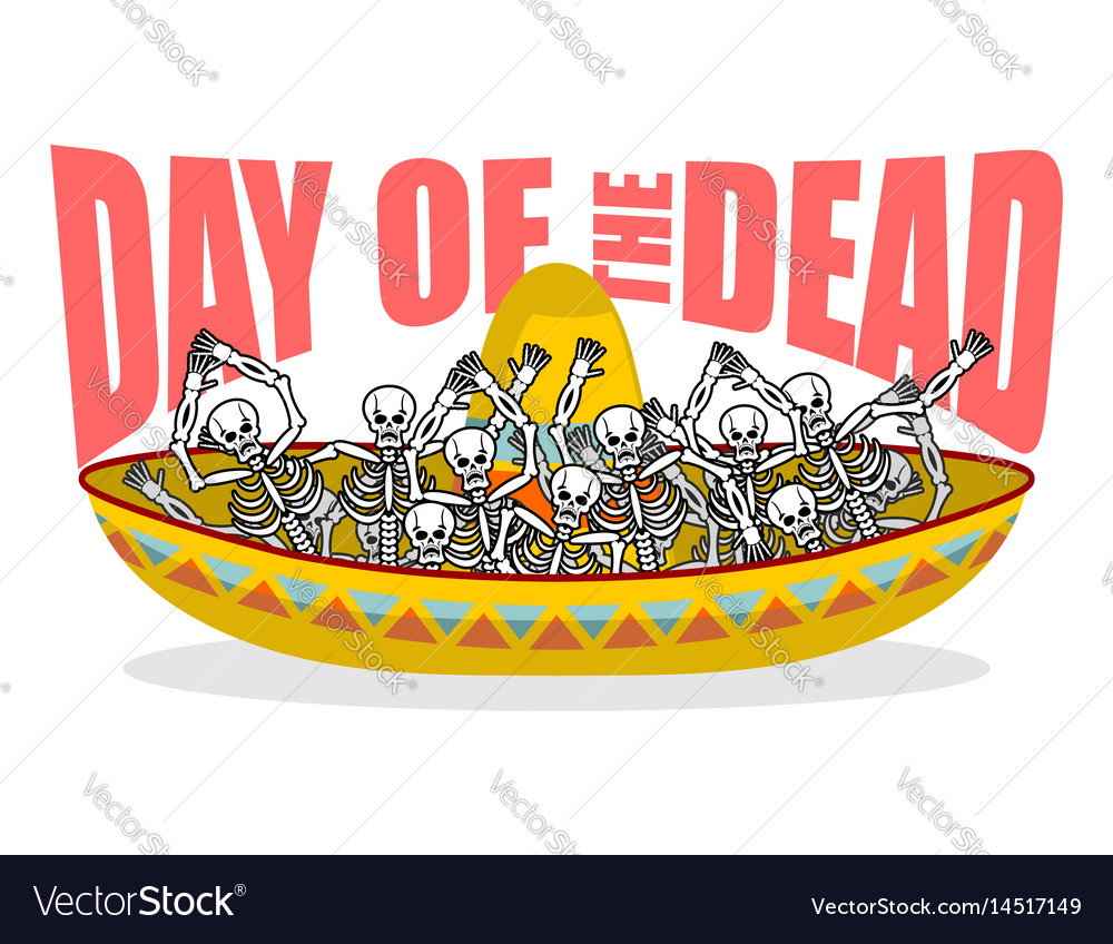 Day of the dead skeletons and sombrero