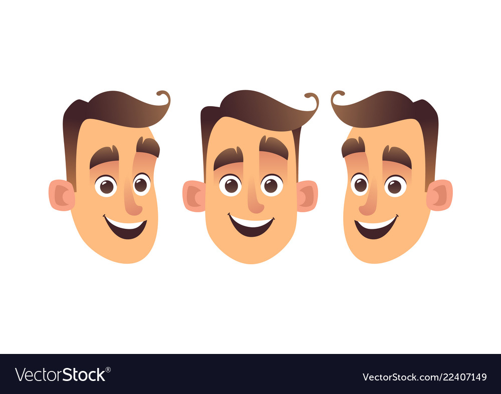 Face of young cartoon man three kinds isolated