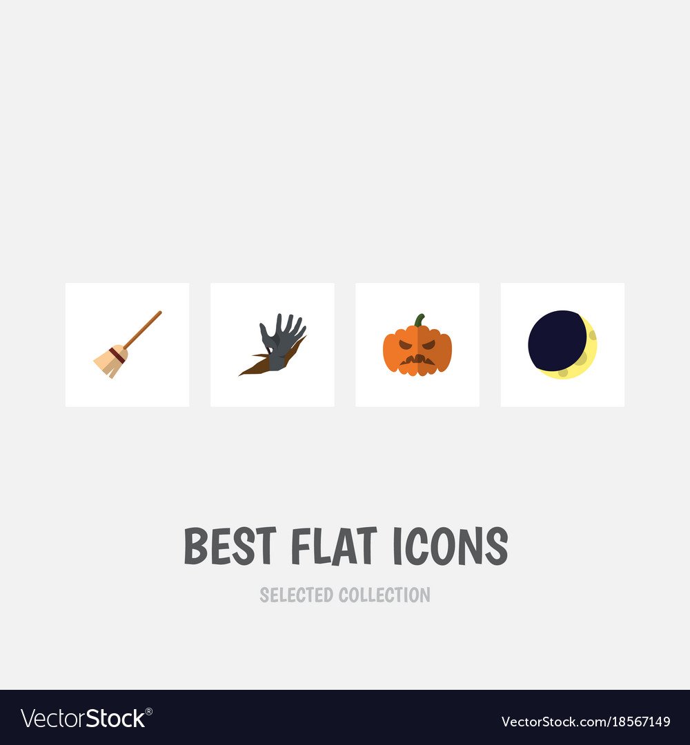 Flat icon halloween set of broom zombie pumpkin