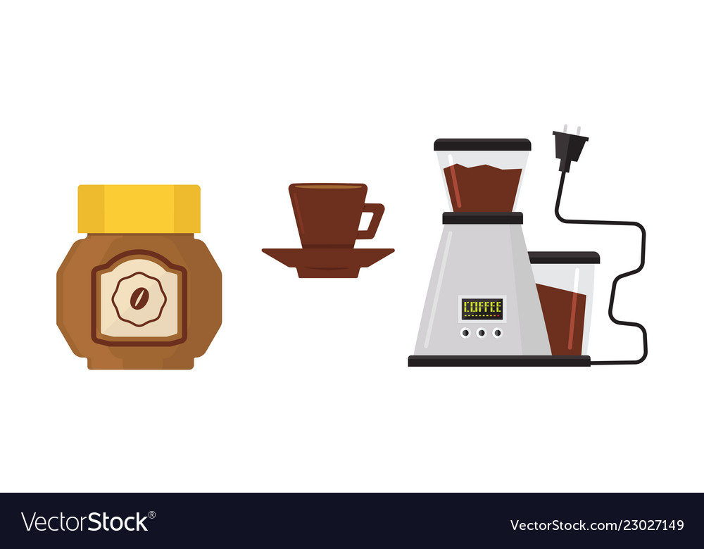 Flat icon of coffee maker cup on saucer