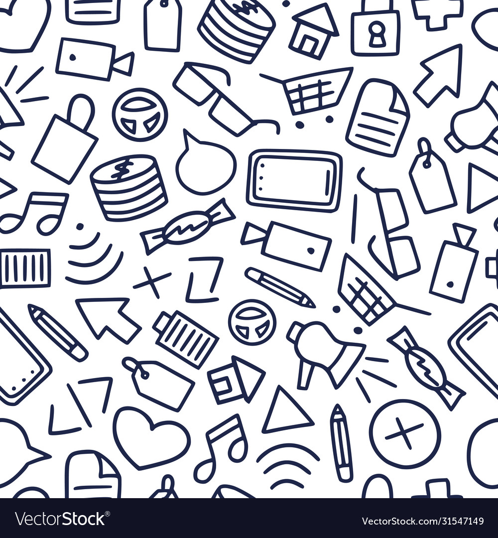 Funny seamless pattern with different doodle icon vector