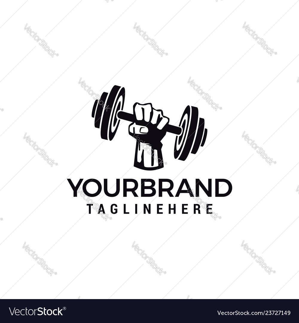 Hand barbel logo design for fitness club design