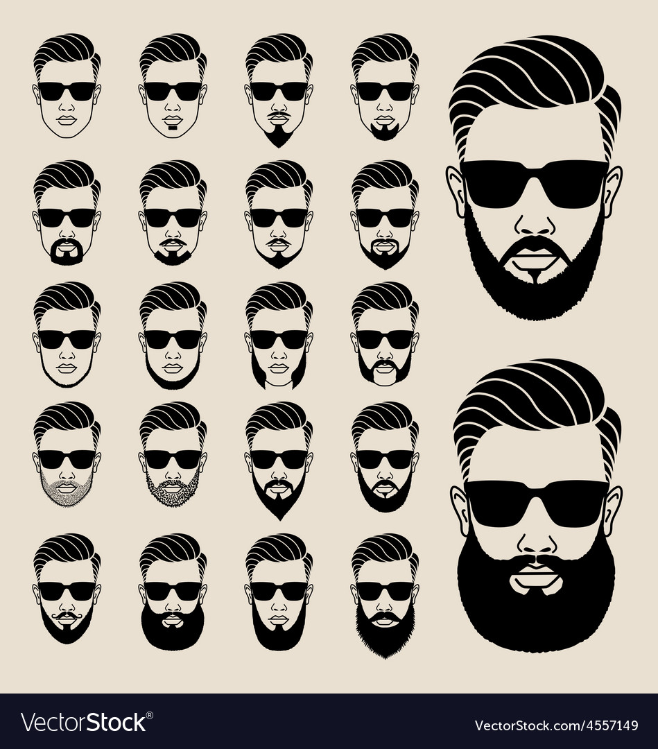 Hipster faces with beard user avatar icon set vector image