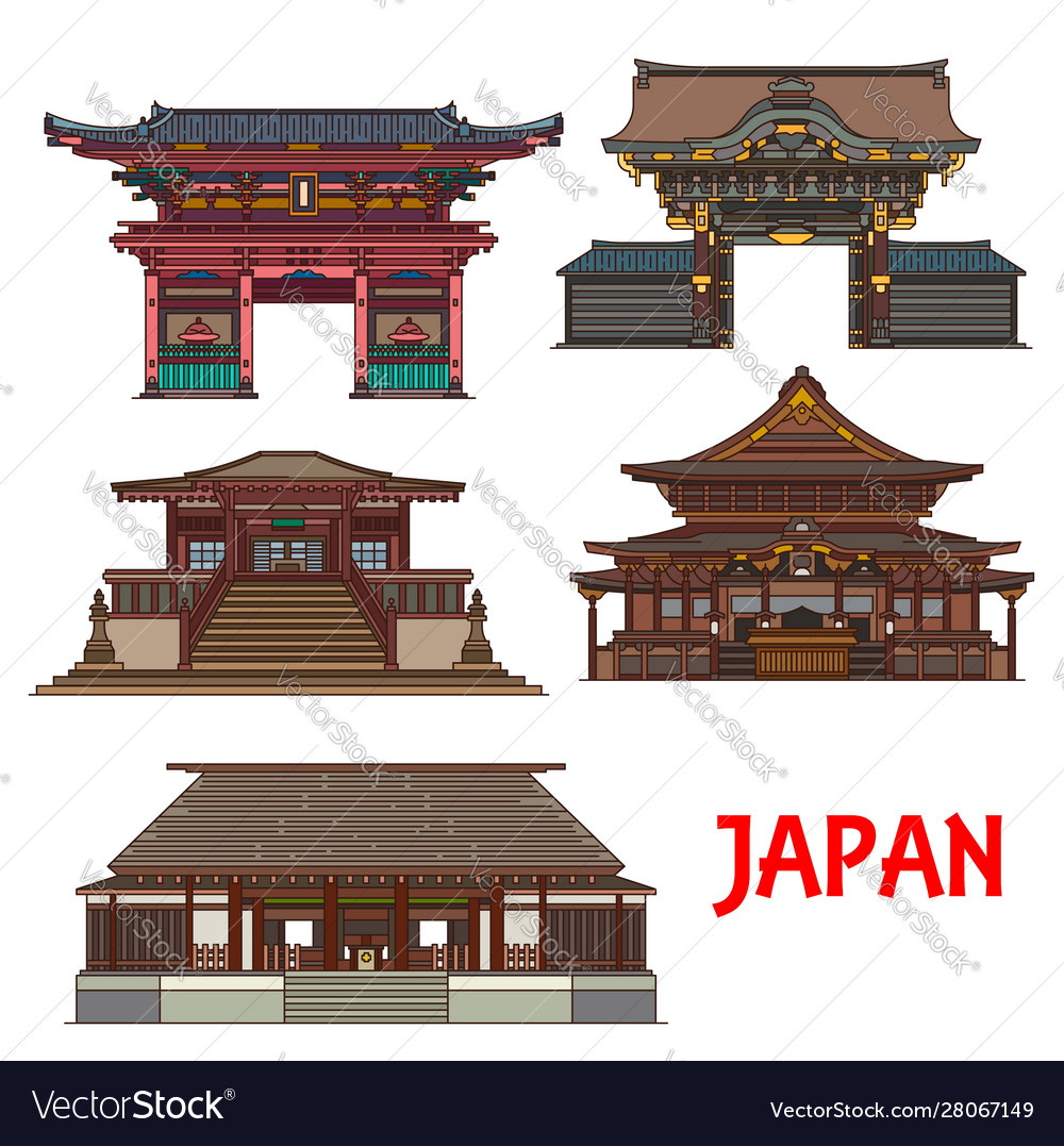 Japanese Temple And Shrine Icons Travel Landmark Vector Image