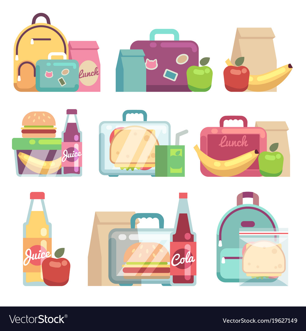 School snacks bags healthy food in kids lunch vector image