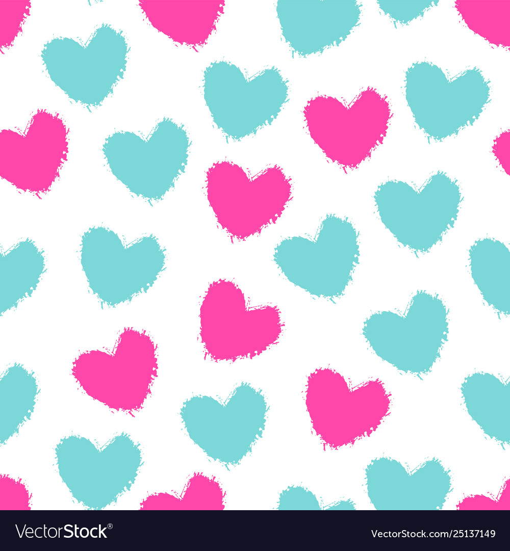 Seamless pattern color painted hearts