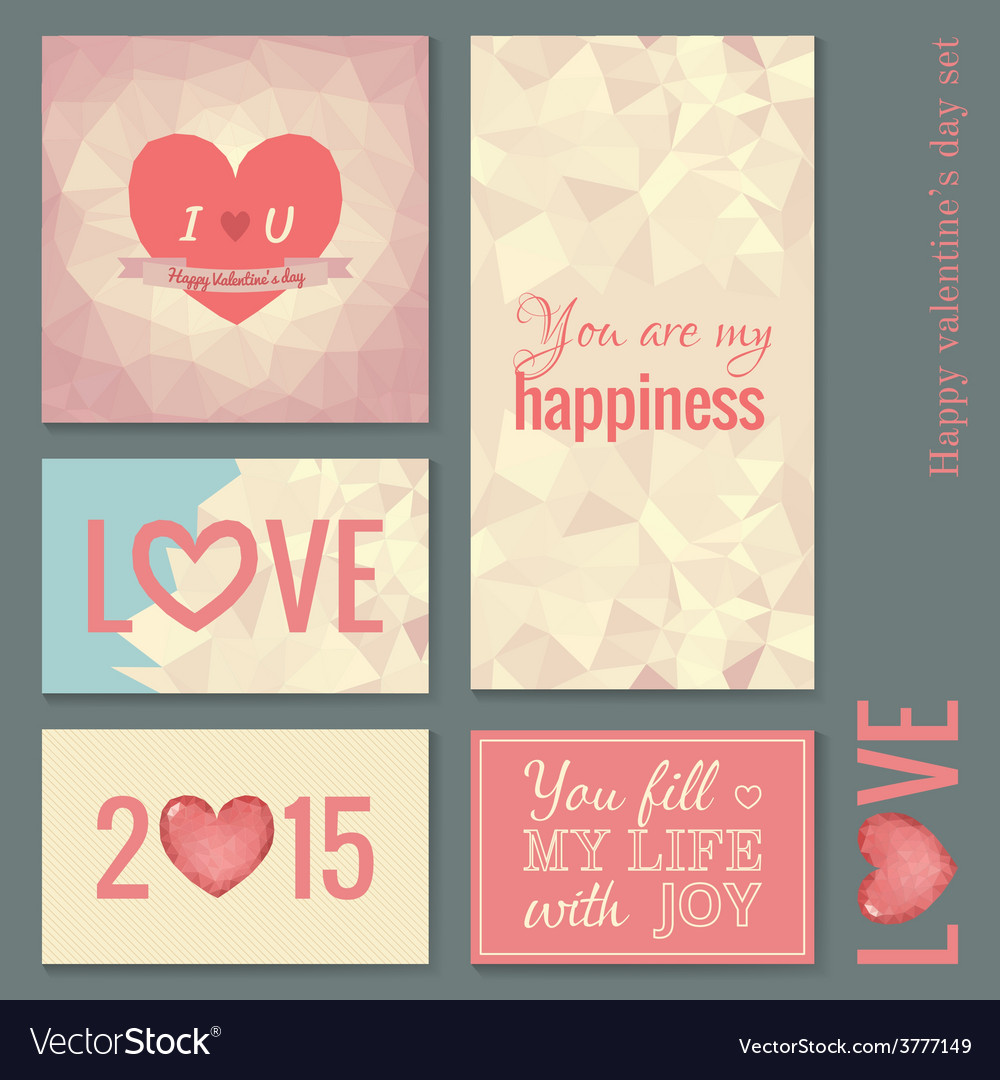 Set of cards templates for Valentine day vector image