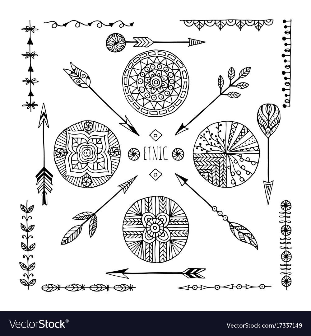Set of creative boho style frames mady by ethnic