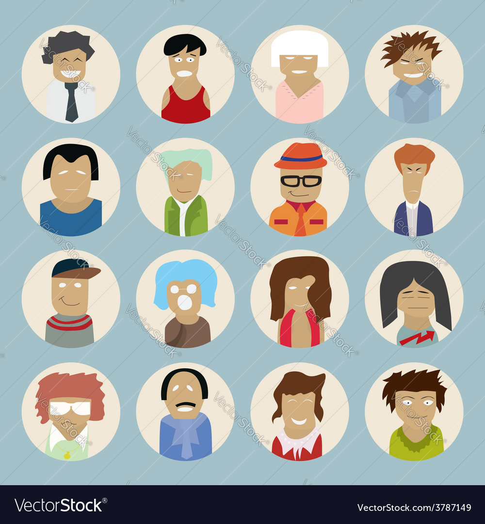 Set of people icons in flat style