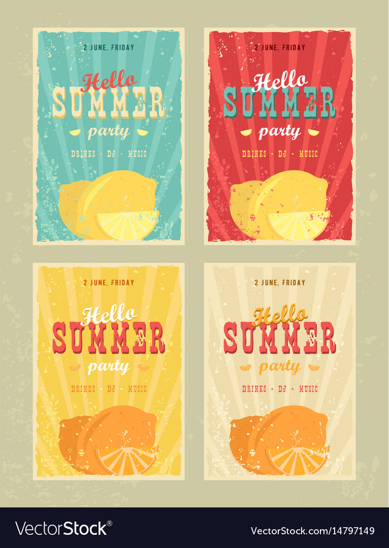 Set of retro summer holiday posters travel and