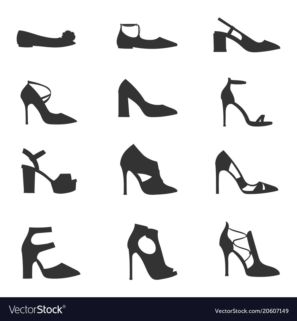 Womens shoes flat design silhouette